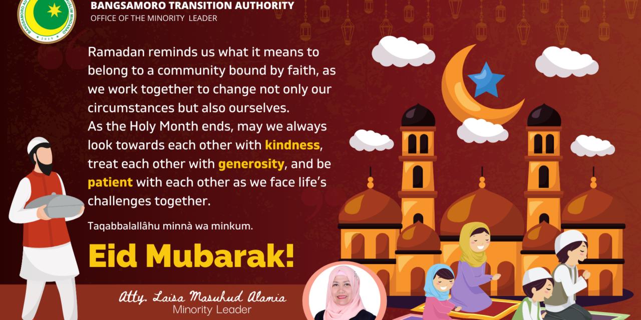 Eid Message from Minority Leader Atty. Laisa Masuhud Alamia