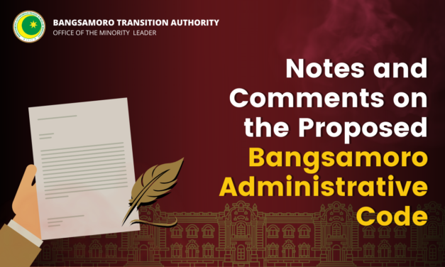 Notes on the Proposed Bangsamoro Administrative Code