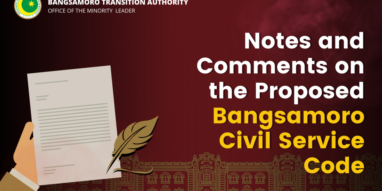 Notes on the Proposed Bangsamoro Civil Service Code