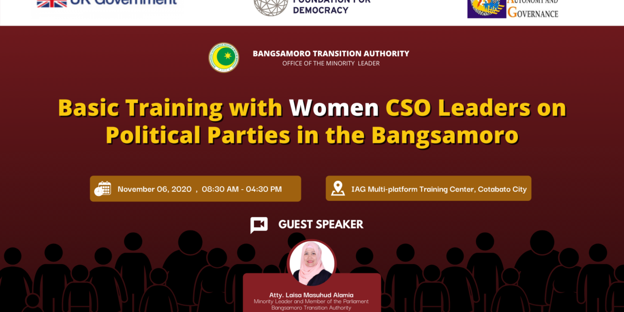 Basic Training with Women CSO Leaders on Political Parties in the Bangsamoro