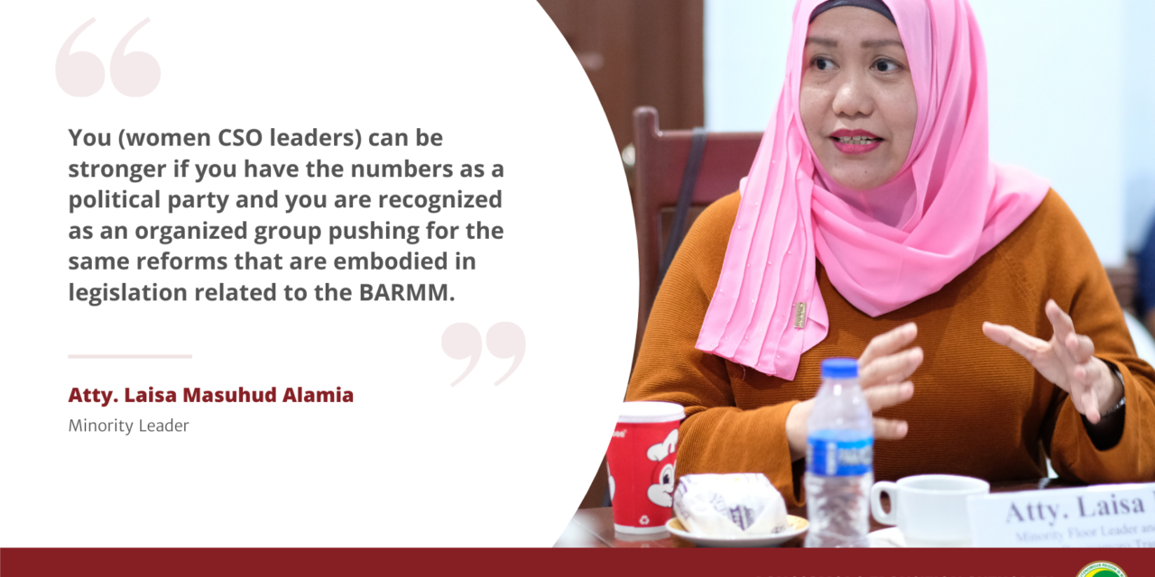 MP Alamia: Women in parliament essential to fair representation, gender equality in the Bangsamoro