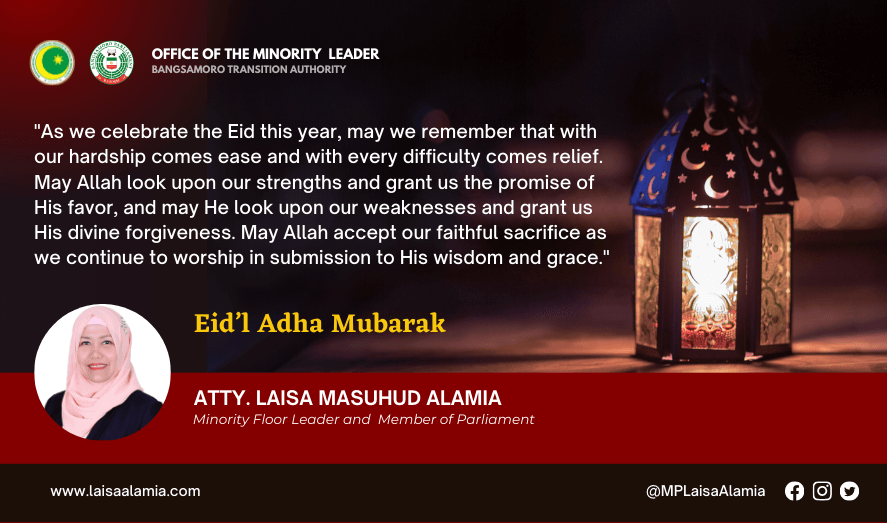 Eid'l Adha 2021: Message of MP Atty. Laisa Masuhud Alamia